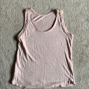 Ann Taylor Loft Linen Pink Tank Top